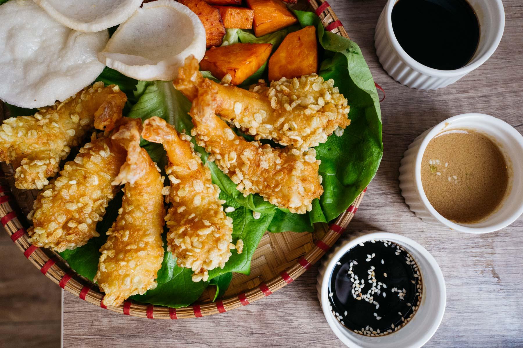 krewetki black tiger panierowane (green sticky rice)